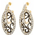 NEXTE Jewelry Goldtone Clear Rhinestone Hoop and Shield Earrings