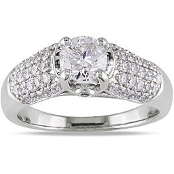 Miadora 14k White Gold 1 1/4ct TDW Certified Diamond Engagement Ring (G-H, I1)