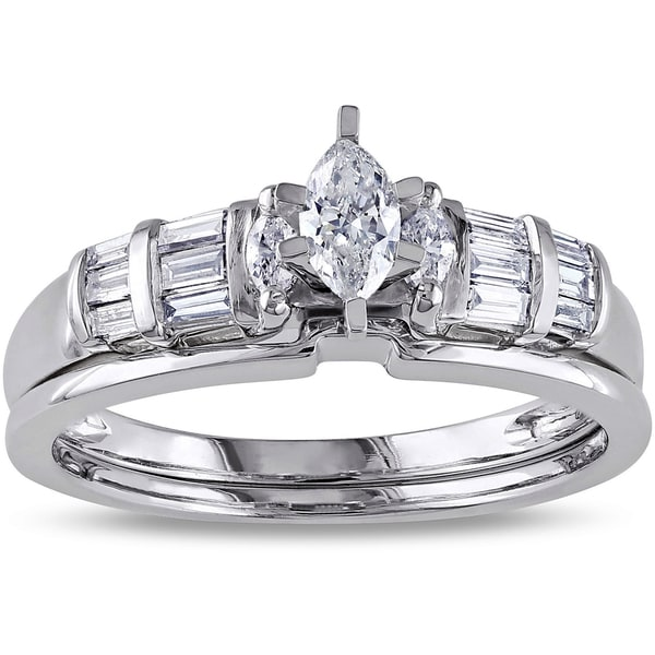 Miadora 14k White Gold 1 2ct TDW Marquise Cut And Parallel Baguette Diamond E