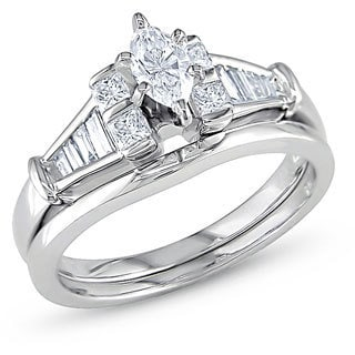 14k White Gold 3/4ct TDW Diamond Bridal Ring Set (H-I, I1)