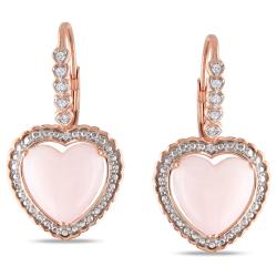 Miadora Pink Gold/ Silver 4ct TGW Pink Opal and Diamond Accent Heart Earrings
