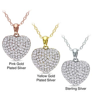 Miadora Sterling Silver 1/2ct TDW Diamond Heart Necklace (H-I, I2-I3)