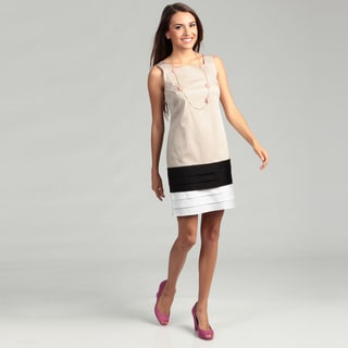 London Times Square Neck Cotton Solid Dress