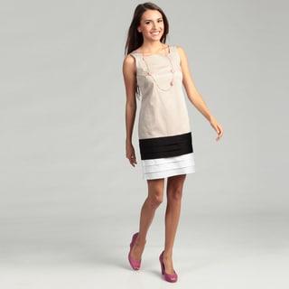 London Times Square Neck Cotton Solid Dress