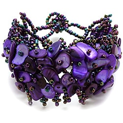 Purple Mother of Pearl Bead Weave Bracelet