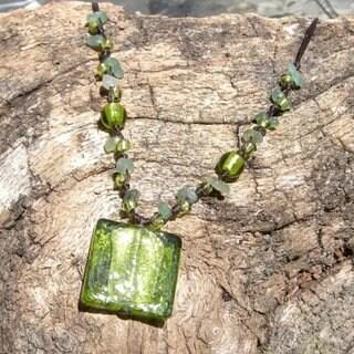 Italian Glass Bead Neckalce Green (Thailand)