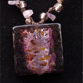 Italian Glass Pendant Necklace Amethyst (Thailand)