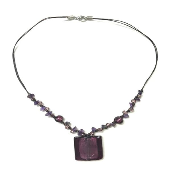 Handmade Italian Glass Pendant Necklace - Purple (Thailand) 9069702