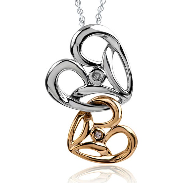 Bridal Symphony 10K Gold/Silver Diamond Two-Tone Double Heart Necklace