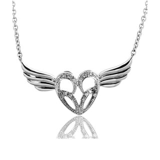 Sterling Silver Diamond Accent Winged Heart Necklace