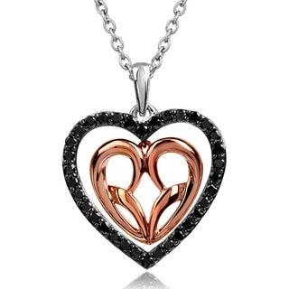 Bridal Symphony 10k Rose Gold/Silver 1/3ct Black Diamond Heart Necklace