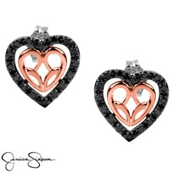 10k Rose Gold/Silver 1/3ct Black Diamond Heart Earrings