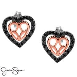 Bridal Symphony 10k Rose Gold/Silver 1/3ct Black Diamond Heart Earrings