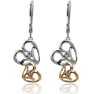 Bridal Symphony 10k Gold/Silver 1/3ct Diamond Two-Tone Dangle Heart Earrings