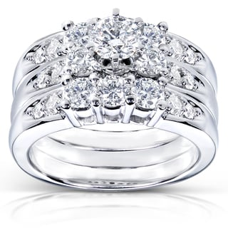Annello 14k White Gold 1 5/8ct TDW Diamond 3-piece Bridal Ring Set (H-I, I1-I2)