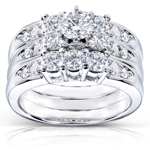 Annello 14k White Gold 1 5/8ct TDW Diamond 3-piece Bridal Ring Set (H-I, I1-I2)