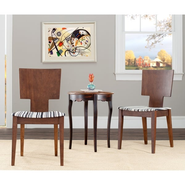 Safavieh Metropolitan Dining Chic Stripe Walnut Finish Side Chairs (Set of 2)