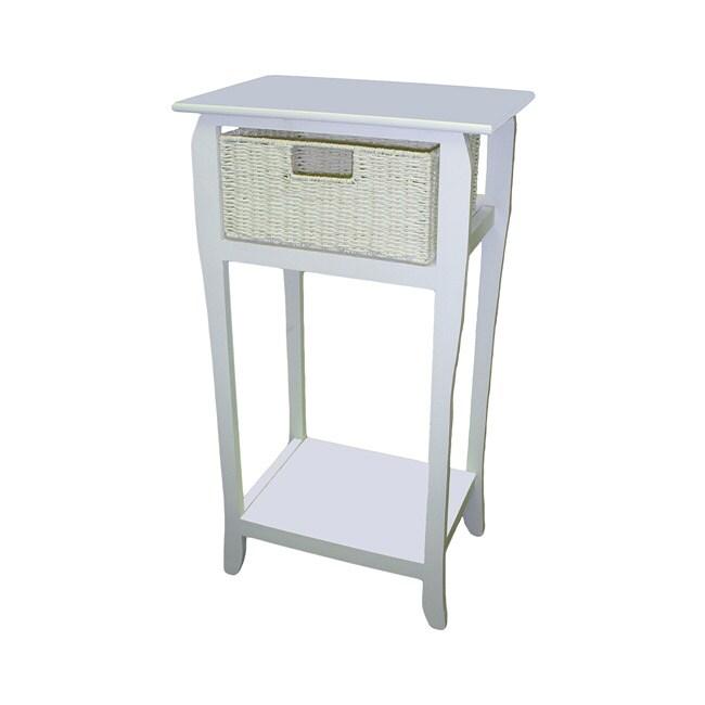 White Compact Wicker Basket Storage Shelf