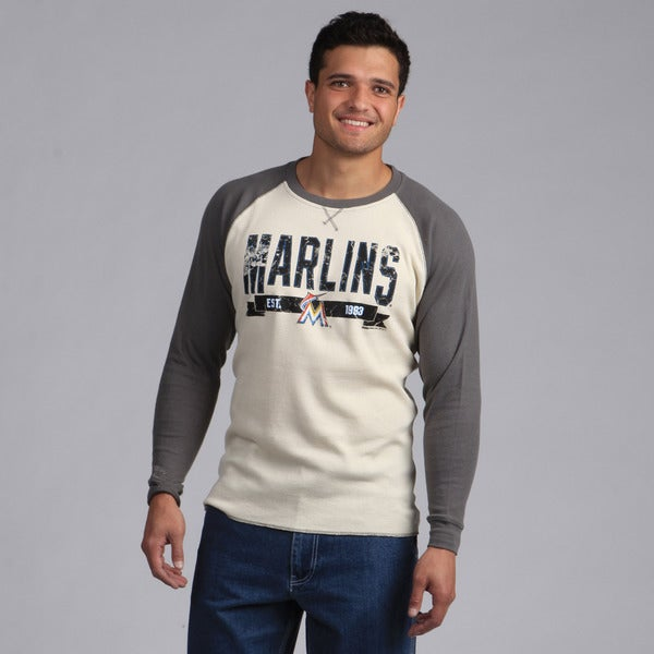 Stitches Men's Miami Marlins Raglan Thermal Shirt