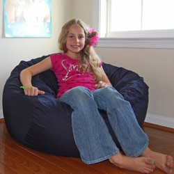 Ahh Products Navy Blue Organic Cotton Washable Bean Bag Chair