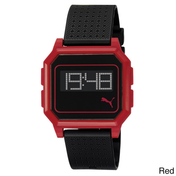 Puma PU910951004 Active Lightweight Flat Screen Plastic Digital Red and Black Watch
