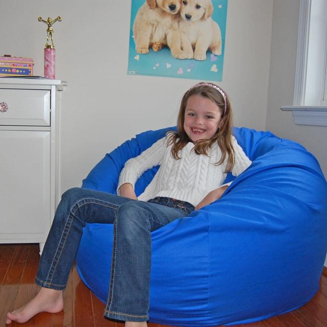 Ahh Products Blue Organic Cotton Washable Bean Bag Chair
