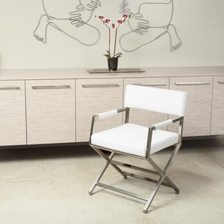 Martine White Leather Director Style Dining Chair