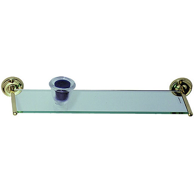 Elizabethan Classics Polished Brass Glass Vanity Shelf