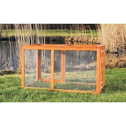 Trixie Pet Products Glazed-pine Outdoor Run Pet House with Mesh Cover