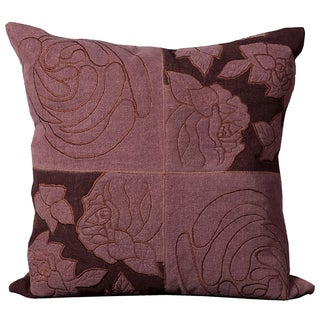 Mina Victory Natural Leather Violet 20-inch Pillow