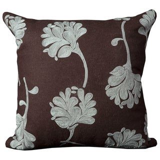 Luminecence Brown Floral 20 x20-inch Decorative Pillow
