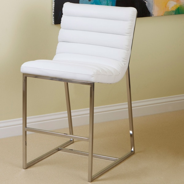 Christopher Knight Home Parisian White Leather Barstool