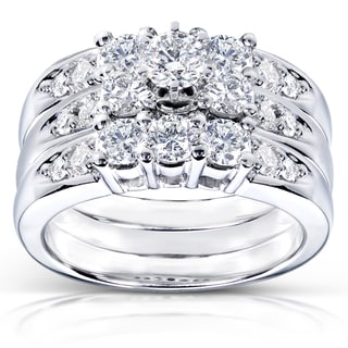 Annello 14k White Gold 1 2/5ct TDW Diamond 3-piece Bridal Ring Set (H-I, I1-I2)