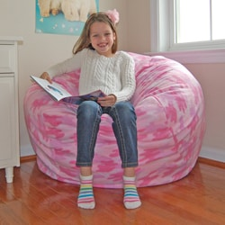 Ahh Products Pink Fleece Camouflage Washable Bean Bag Chair