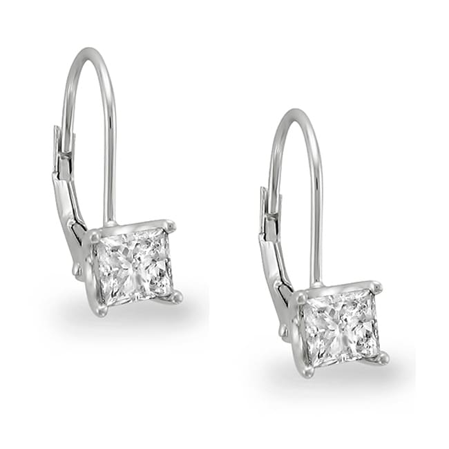 14k White Gold 1ct TDW Princess Diamond Leverback Earrings (I-J, I1): www.overstock.com/Jewelry-Watches/14k-White-Gold-1ct-TDW-Princess...