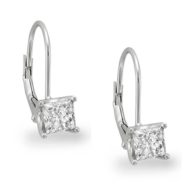 14k White Gold 3/4ct TDW Princess Diamond Leverback Earrings (I-J, SI2)
