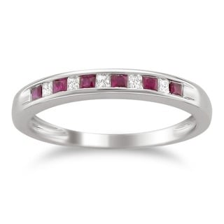 14k White Gold Gemstone and 1/10ct TDW Diamond Wedding Band (H-I, I1-I2)