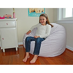 Lavender White Gingham Check Cotton Washable Bean Bag Chair