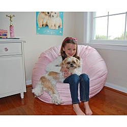 Ahh Products Pink and White Gingham Cotton Washable Bean Bag Chair