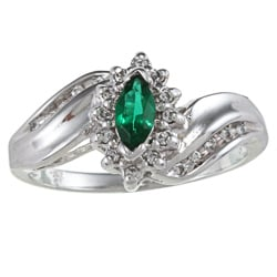 Sterling Essentials Sterling Silver Marquise-cut Green Cubic Zirconia Ring