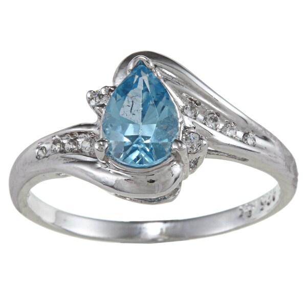 Sterling Essentials Silver Pear-cut Aqua Blue Cubic Zirconia Ring