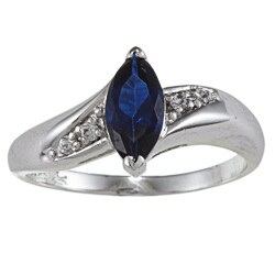Sterling Essentials Silver Marquise Safiro Blue Cubic Zirconia Ring