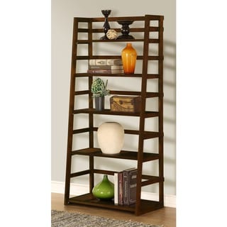 Normandy Tobacco Brown Ladder Shelf Bookcase
