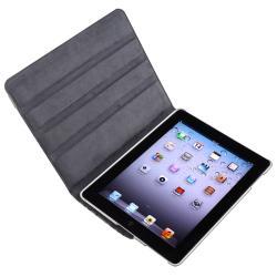 White/ Black 360-degree Swivel Leather Case for Apple iPad 2/ 3/ 4