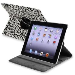 White/ Black 360-degree Swivel Leather Case for Apple iPad 2/ 3
