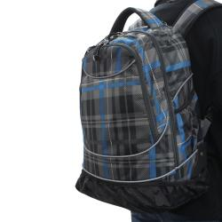 Pacific Gear by Traveler's Choice Horizon Grey/ Blue Plaid Rolling 15-inch Laptop Backpack
