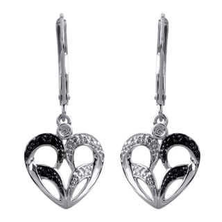 Bridal Symphony 10k White Gold Black and White Diamond Heart Earrings