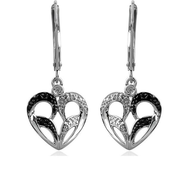 Bridal Symphony 10k White Gold Black and White Diamond Heart Earrings