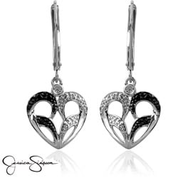 10k Gold 1/10ct TDW Black and White Diamond Heart Earrings (I-J, I2-I3)