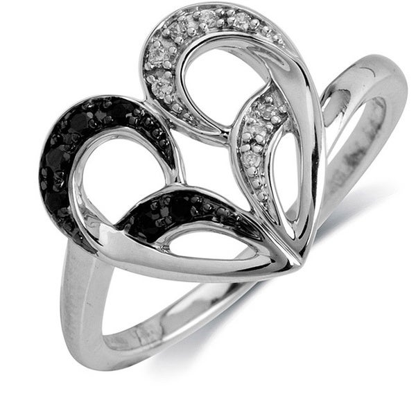 10k White Gold 1/10ct TDW Black Diamond Heart Ring